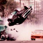 Movie car crash scene.